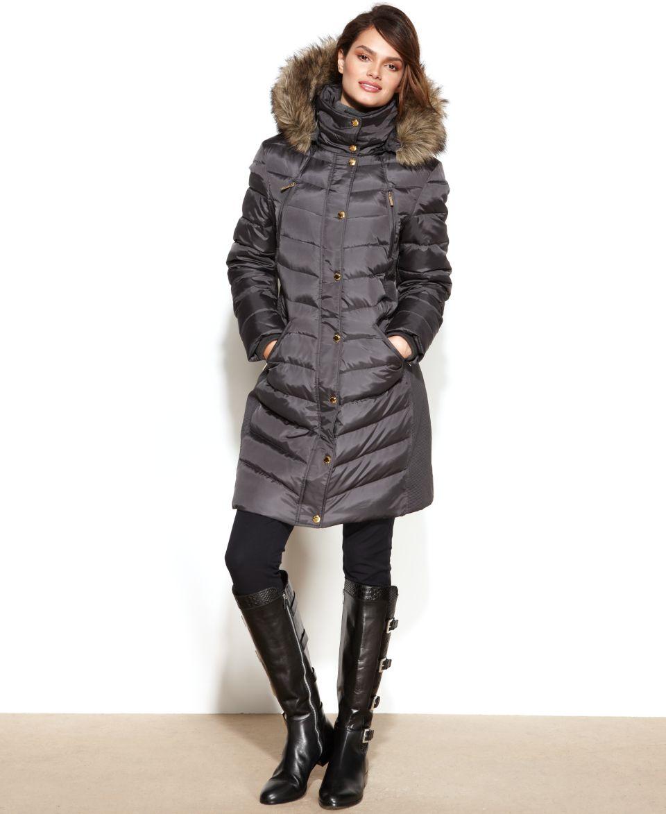 MICHAEL Michael Kors Hooded Faux Fur Trim Puffer Coat   Coats   Women