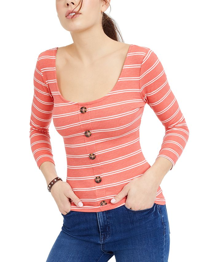 Crave Fame - Juniors' Buttoned Cross-Back Top