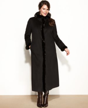 Ellen Tracy Plus Size Coat, Faux-Fur-Trim Wool-Blend Maxi