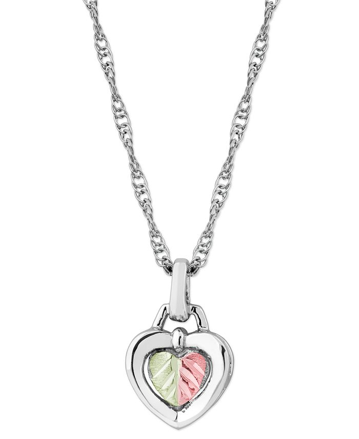 "Black Hills Gold - Heart Pendant 18"" Necklace in Sterling Silver with 12K Rose and Green Gold"