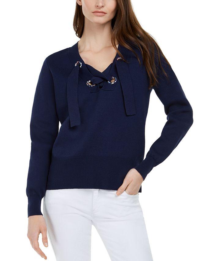 Michael Kors - Cotton Lace-Up Sweater, Regular & Petite