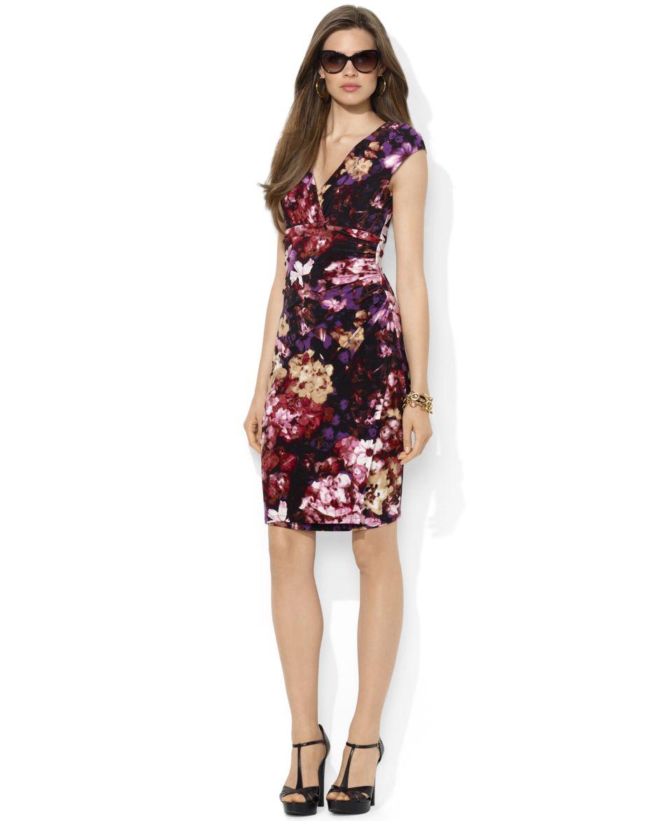 Lauren Ralph Petite Lauren Dress, Cap Sleeve Ruched Printed A Line