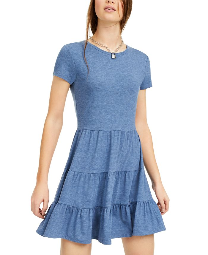 Be Bop - Juniors' Heathered Tiered T-Shirt Dress