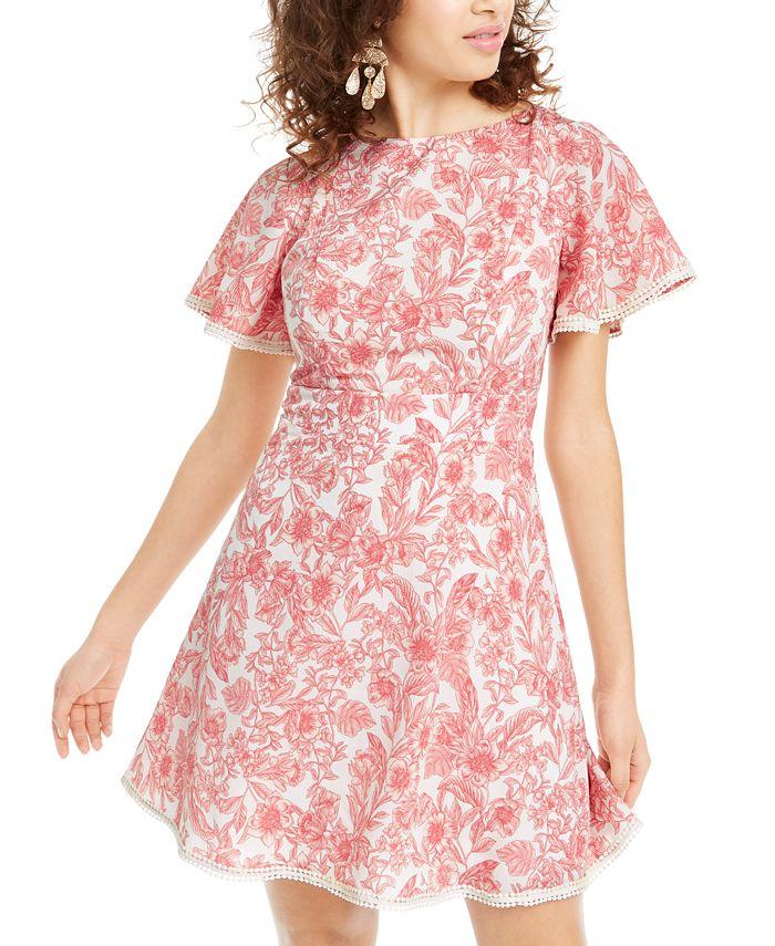 B Darlin - Juniors' Floral A-Line Dress