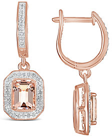 Morganite (1-3/4 ct. t.w.) and Diamond (1/3 ct. t.w.) Drop Earrings in 14K Rose Gold-Plated Sterling Silver