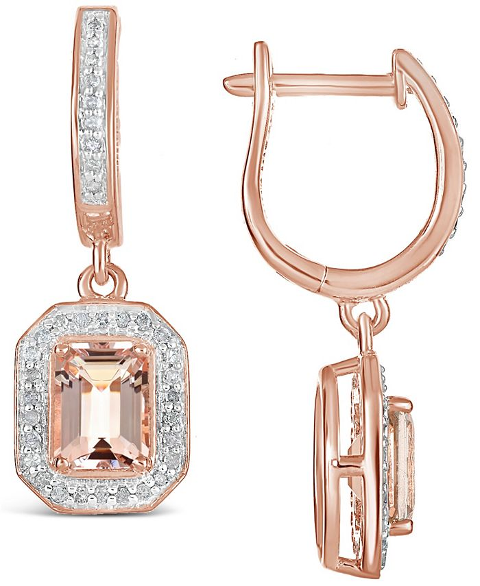 Macy's - Morganite (1-3/4 ct. t.w.) and Diamond (1/3 ct. t.w.) Drop Earrings in 14K Rose Gold-Plated Sterling Silver