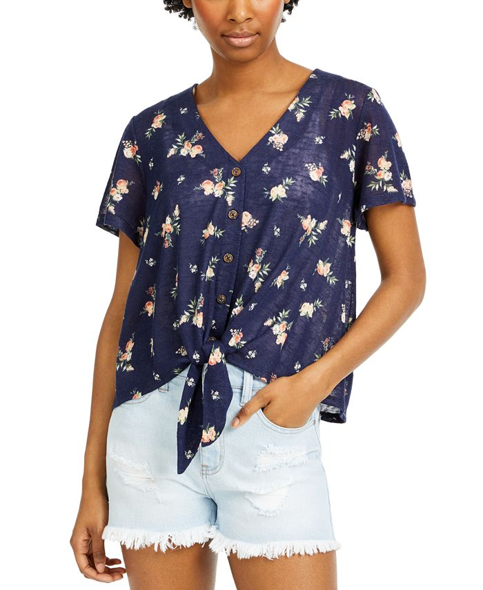 Hippie Rose - Juniors' Floral-Print Tie-Front Top