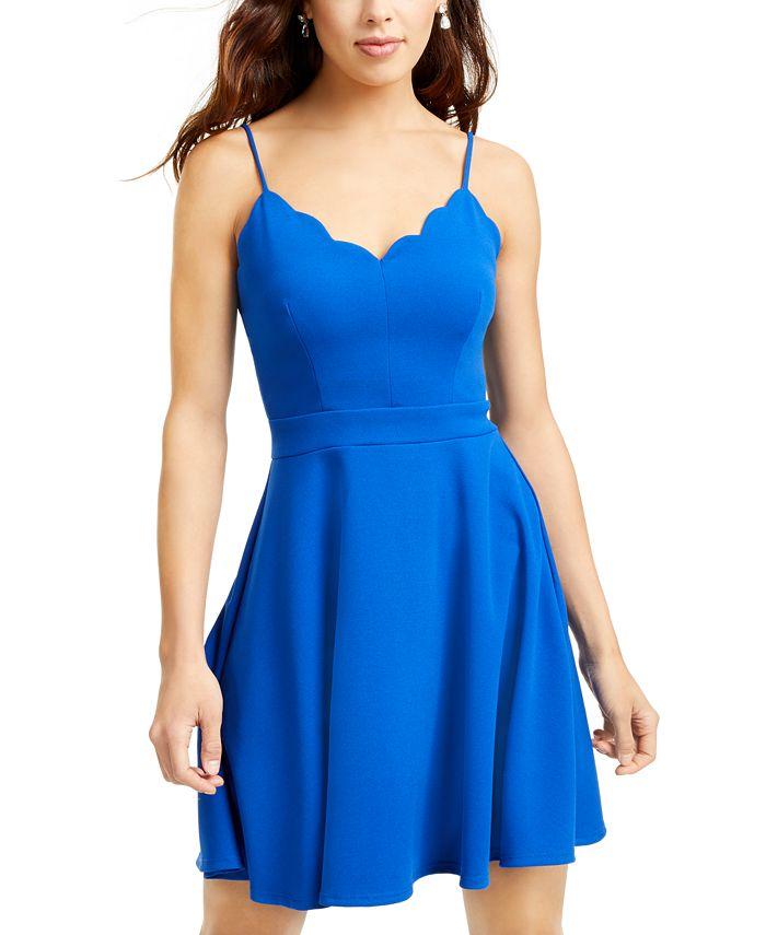 B Darlin - Juniors' Scalloped Fit & Flare Dress