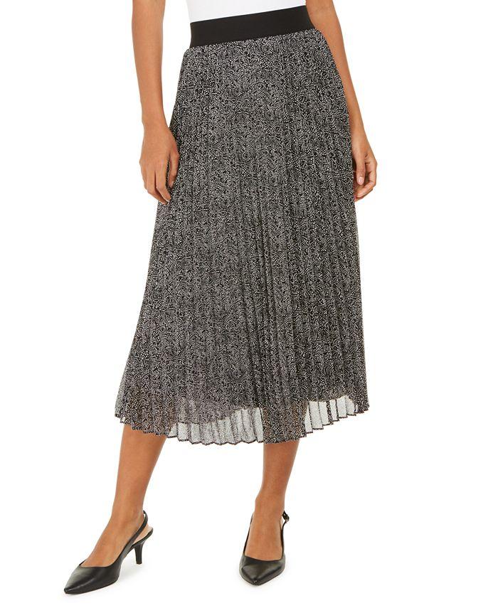 Alfani - Pleated Metallic Midi Skirt, Created For Macy's