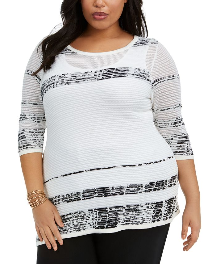 Belldini - Plus Size Striped Asymmetrical-Hem Sweater