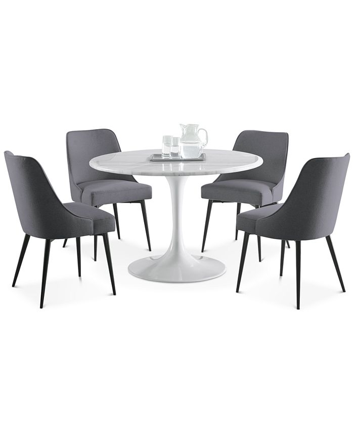 Steve Silver - Colfax 5-Pc. Dining Set, (White Table & 4 Side Chairs)