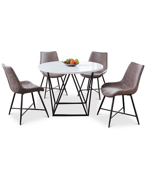 Steve Silver Ramona 5 Pc Dining Set Round Table 4 Side Chairs Reviews Furniture Macy S