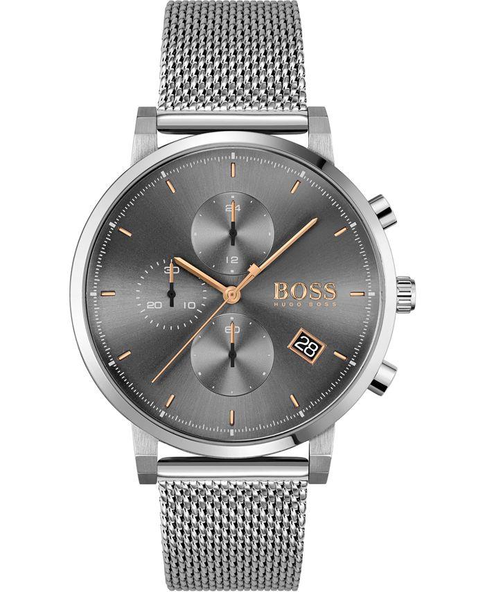 BOSS - Men's Chronograph Integrity Stainless Steel Mesh Bracelet Watch 43mm