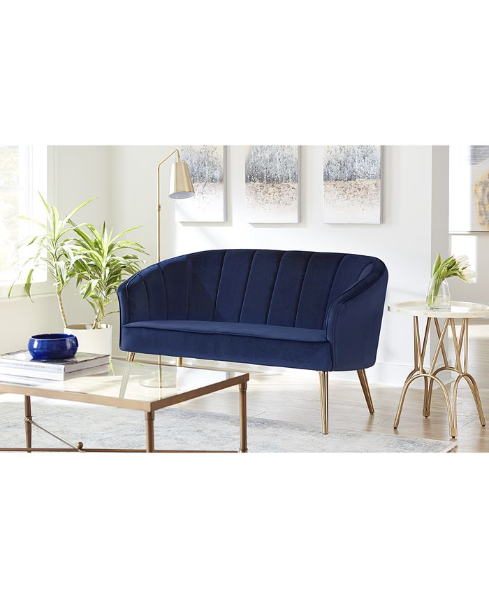 Macy's - Upholstered Accent Settee Blue