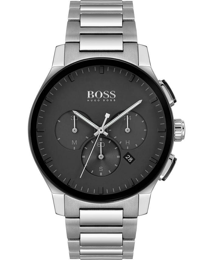 BOSS - Men's Chronograph Peak Stainless Steel Bracelet Watch 44mm