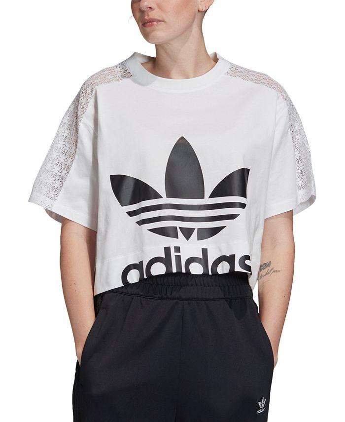 adidas - Originals Cotton Lace-Trimmed Cropped T-Shirt