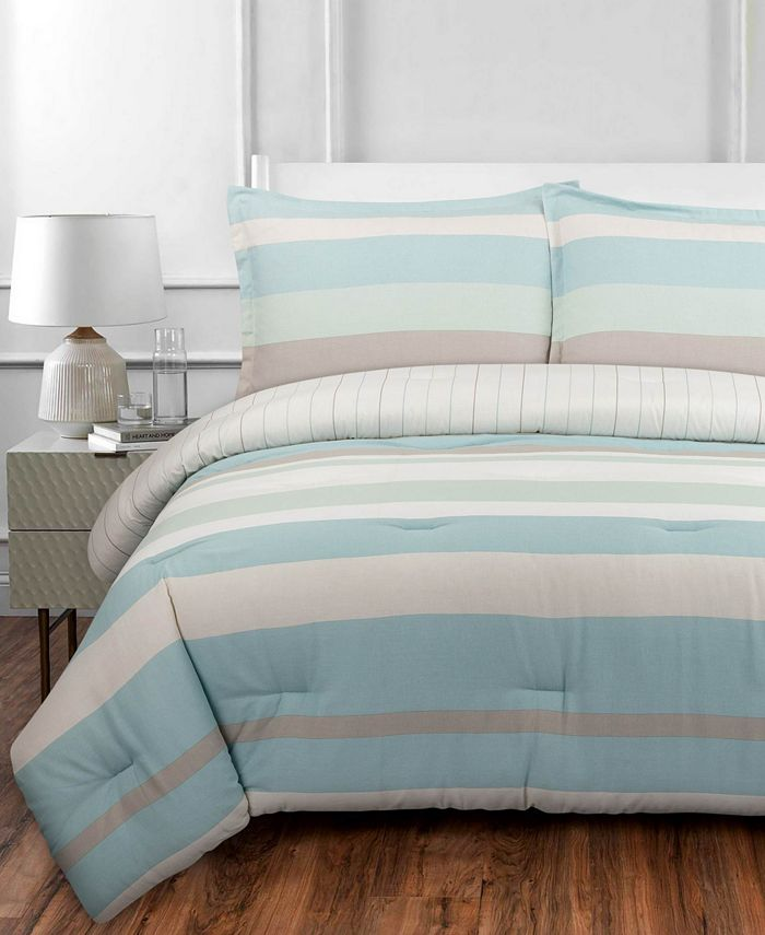 Nouvelle Home - Coastal Stripe Full/Queen Comforter Set