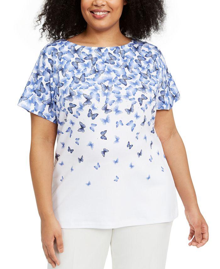 Karen Scott - Plus Size Butterfly-Print Top