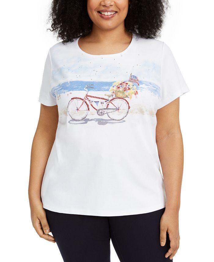 Karen Scott - Plus Size Bicycle Graphic Top