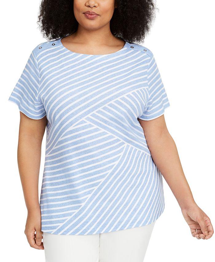 Karen Scott - Plus Size Asymmetrical Striped Top