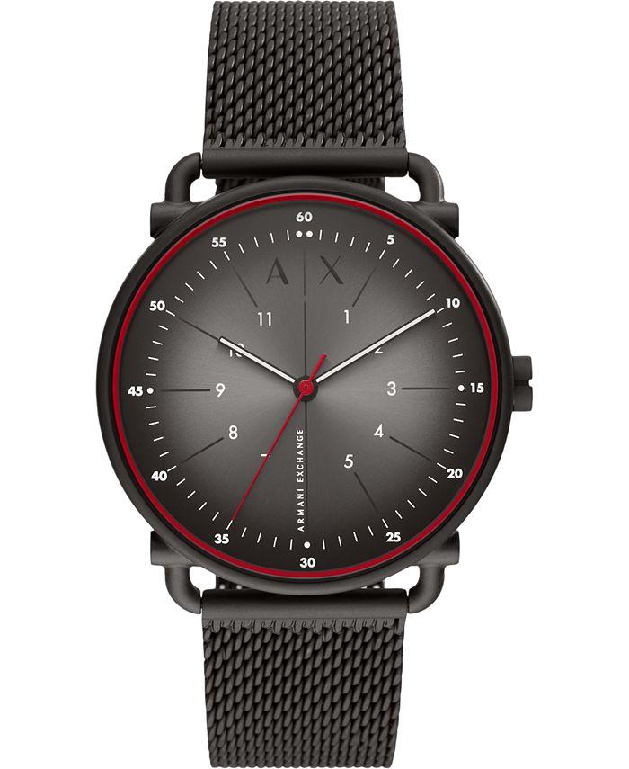 A|X Armani Exchange - Men's Rocco Black Stainless Steel Mesh Bracelet Watch 44mm
