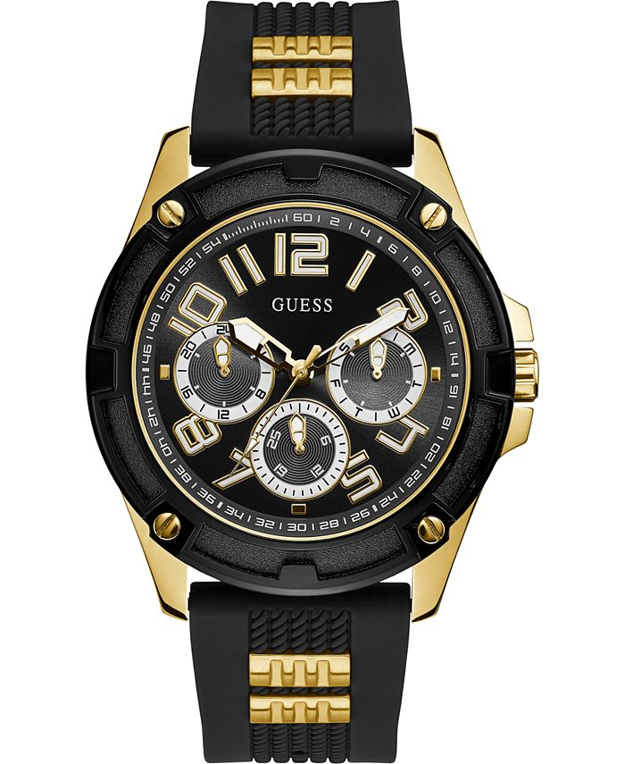 GUESS - Men's Black Silicone Strap Watch 46mm
