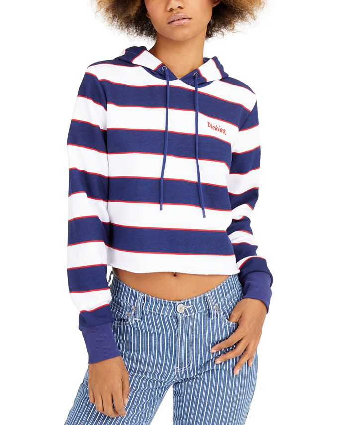 Dickies - Striped Cotton Cropped Hoodie