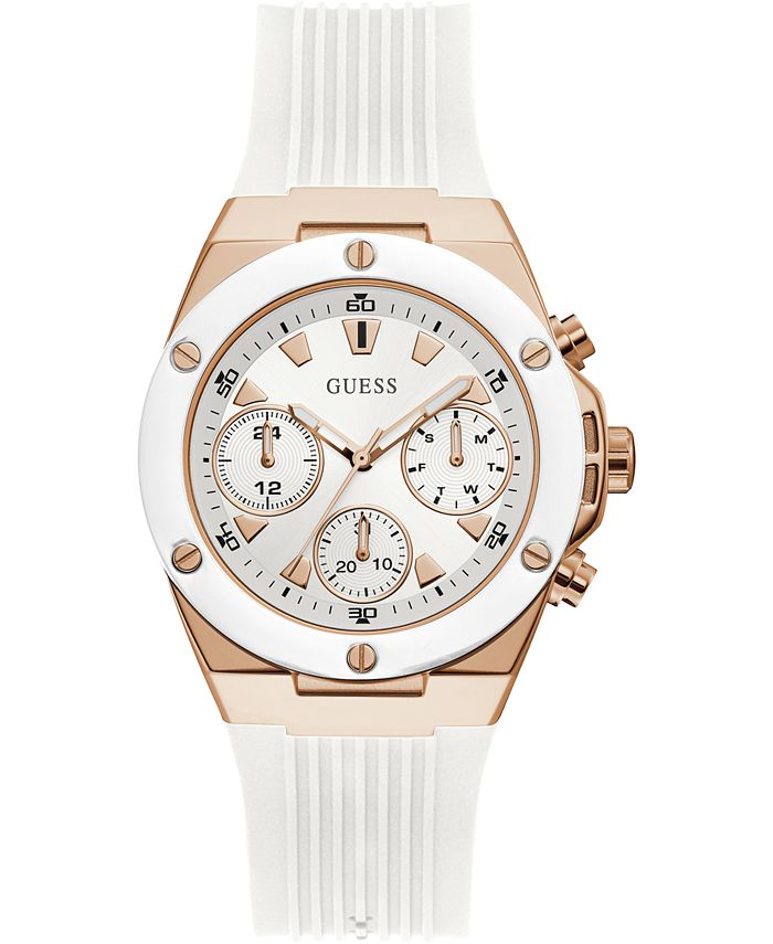 GUESS - Women's White Silicone Strap Watch 39mm