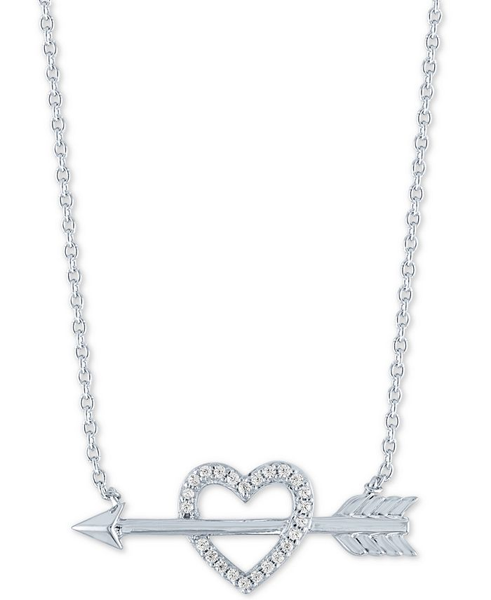 """Macy's - Heart and Arrow Pendant Necklace (1/10 ct. t.w.) in Sterling Silver, 16"""" + 2"""" extender"""