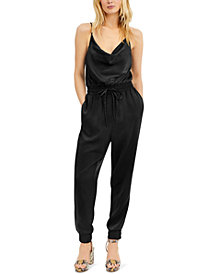Bar III Satin Jogger Jumpsuit, Created for Macy's