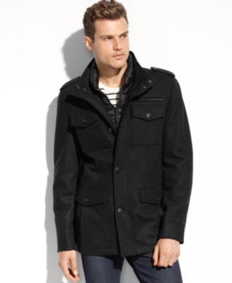 Guess Coats Wool Patch Pocket Hooded Bomber Coats