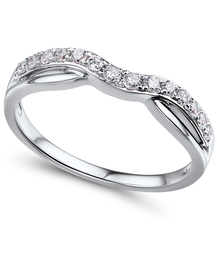 Macy's - Diamond (1/4 ct. t.w.) Contour Band in 14K White Gold