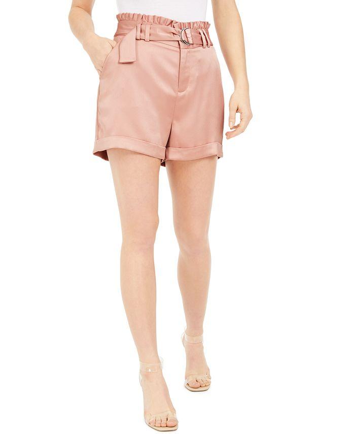 Bar III - Belted Satin Shorts