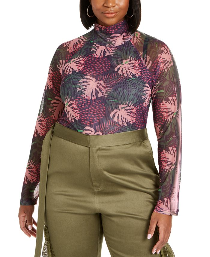 Lala Anthony - Trendy Plus Size Mesh Thumbhole Top