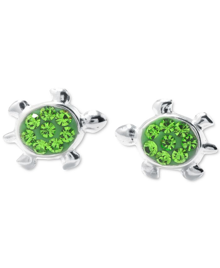 "Giani Bernini - Green Crystal Turtle Stud Earrings (3/8"") in Sterling Silver"