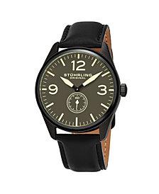 Stuhrling Men's Black Leather Strap Watch 42mm