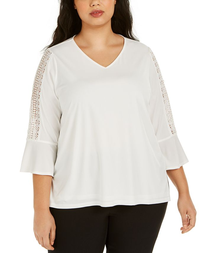 Kasper - Plus Size Lace-Trim Blouse