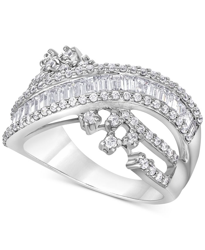 Macy's - Diamond Baguette Crossover Statement Ring (1 ct. t.w.) in 14k White Gold