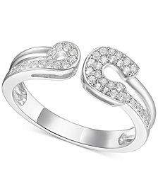 Diamond Horseshoe Cuff Ring (1/5 ct. t.w.) in Sterling Silver
