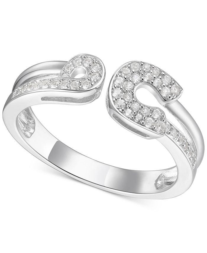 Macy's - Diamond Horseshoe Cuff Ring (1/5 ct. t.w.) in Sterling Silver