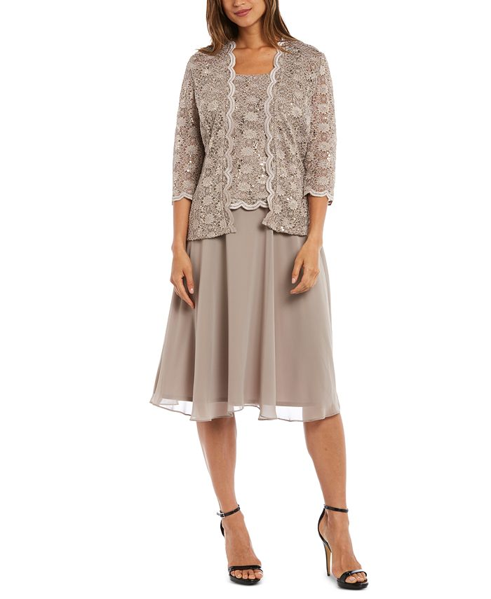 R & M Richards - Sequined Lace Chiffon Dress and Jacket