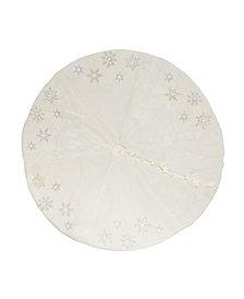 Manor Luxe Snowflake Sequin Soft Plush Furry Light up Christmas Treeskirt Round