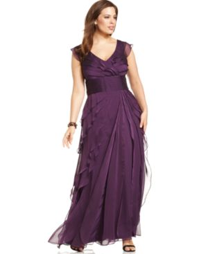 Adrianna Papell Plus Size Sleeveless Tiered Empire-Waist Gown