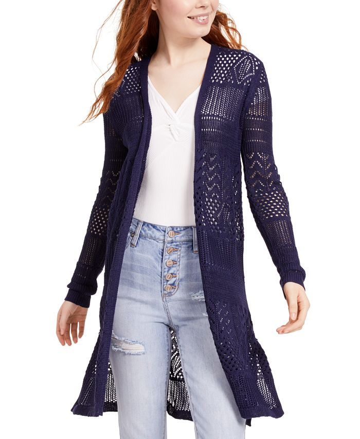 Hooked Up by IOT - Juniors' Open-Knit Duster Sweater