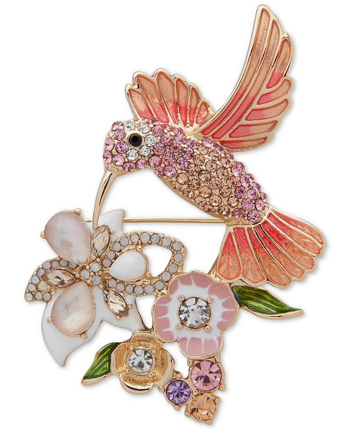 Anne Klein - Gold-Tone Multicolor Crystal Hummingbird Pin