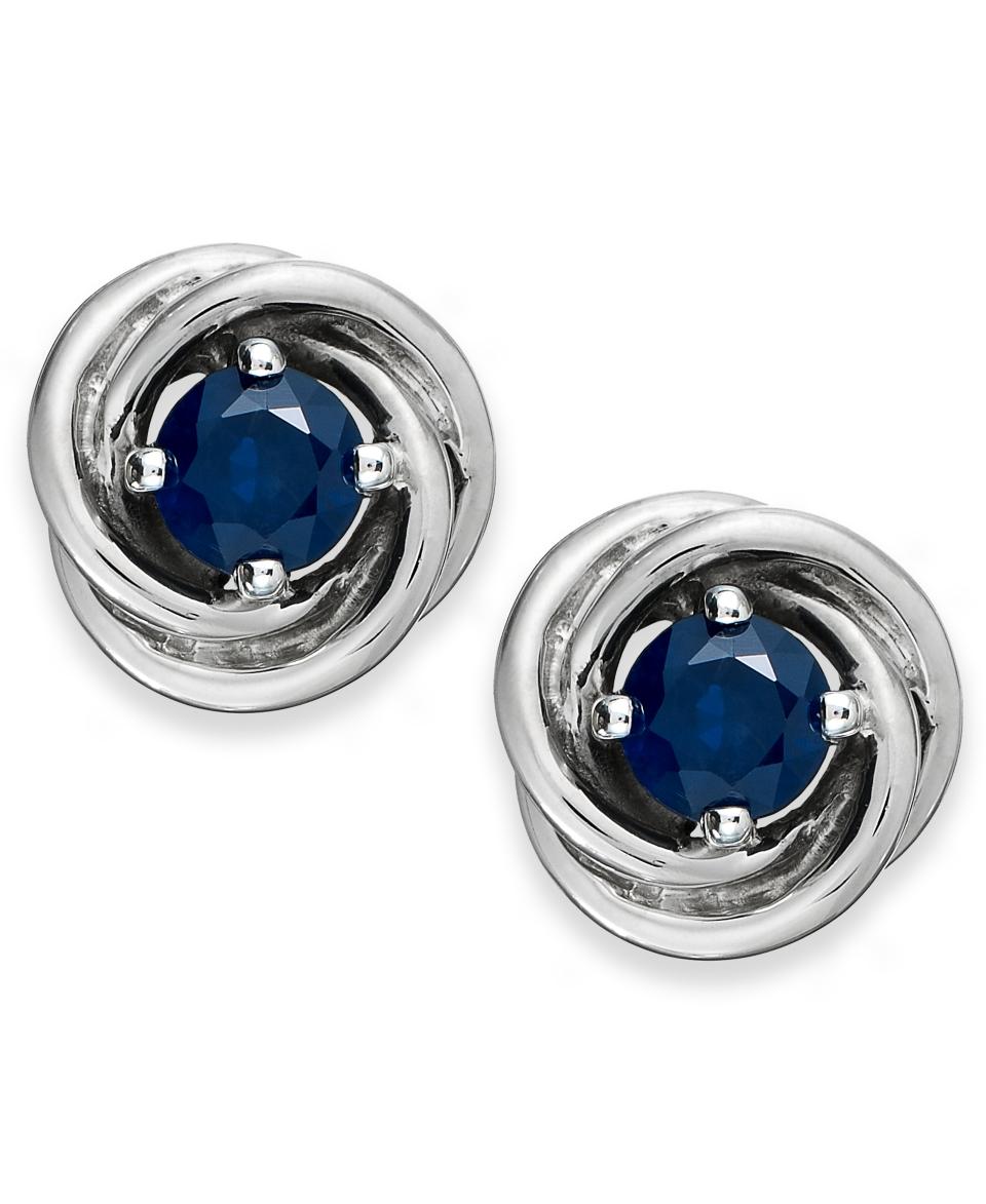 Sterling Silver Earrings, Sapphire (1 1/5 ct. t.w.) Knot Earrings   Earrings   Jewelry & Watches