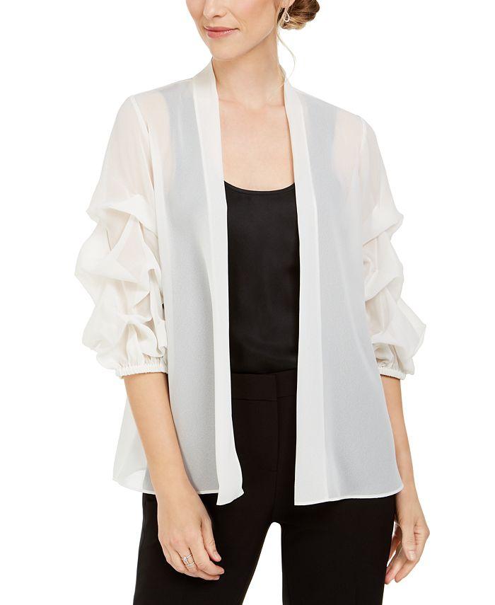 MSK - Sheer Ruched Puff-Sleeve Jacket