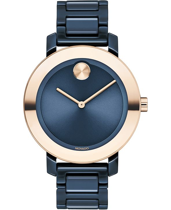 Movado Women's Swiss BOLD Evolution Blue Ceramic Bracelet Watch 36mm