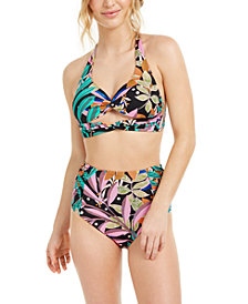 Bar III Hidden Jungle Printed Halter Bikini Top & High-Waist Bikini Bottoms, Created for Macy's