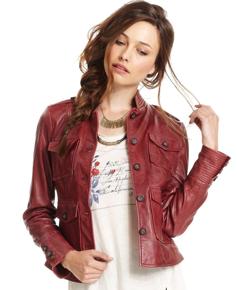 Lucky Brand Jeans Jacket, Long Sleeve Leather   Jackets & Blazers   Women